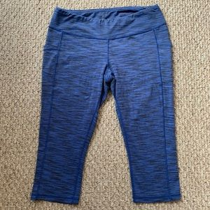 LUCY Blue Black Pocket Quick Dry Cropped Capris